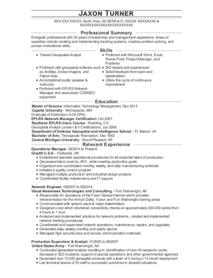 Operations Manager resume example Alaska