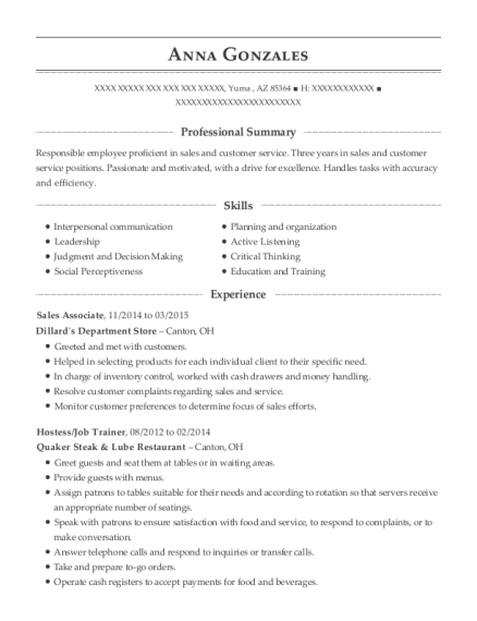 Sales Associate resume format Arizona