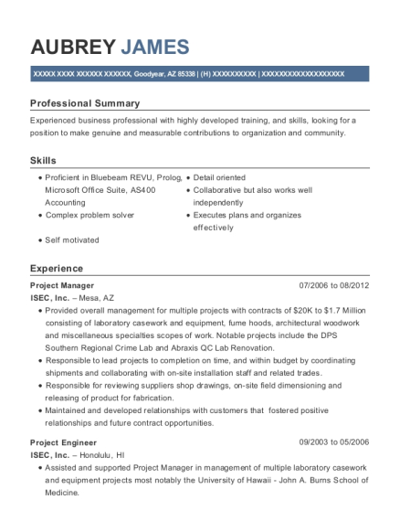 Project Manager resume format Arizona