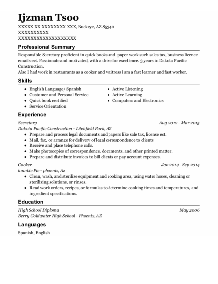 Secretary resume example Arizona