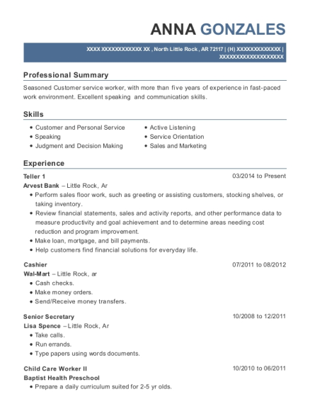 Teller 1 resume example Arkansas