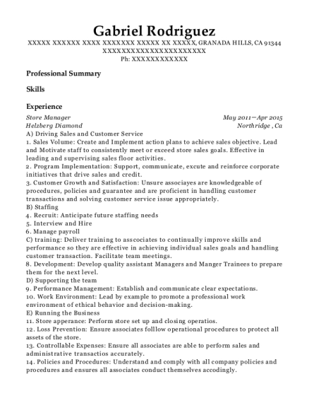 Store Manager resume format California