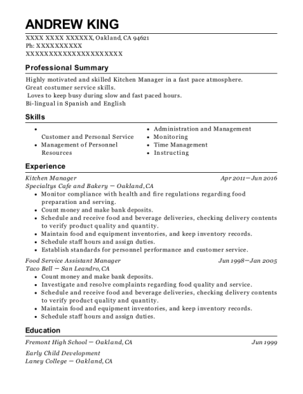 jersey mikes subs food service assistant manager resume