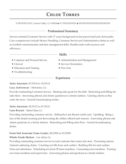 home depot front end associate resume sample