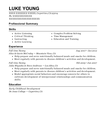 rebecca and william posten full time nanny manager resume