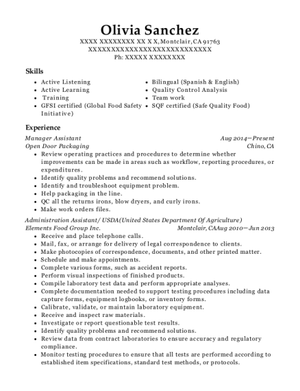 Manager Assistant resume format California