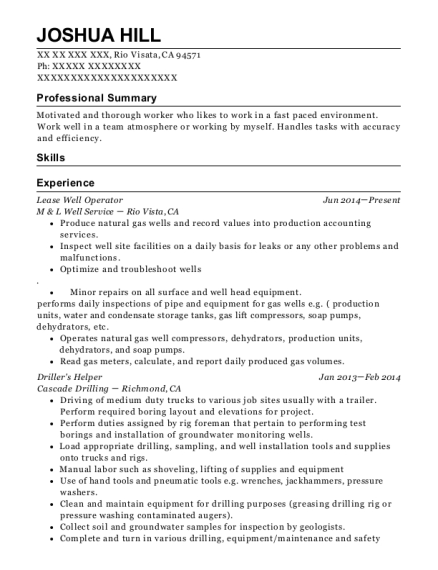 Lease Well Operator resume template California