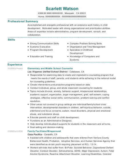 Elementary and Middle School Counselor resume example California