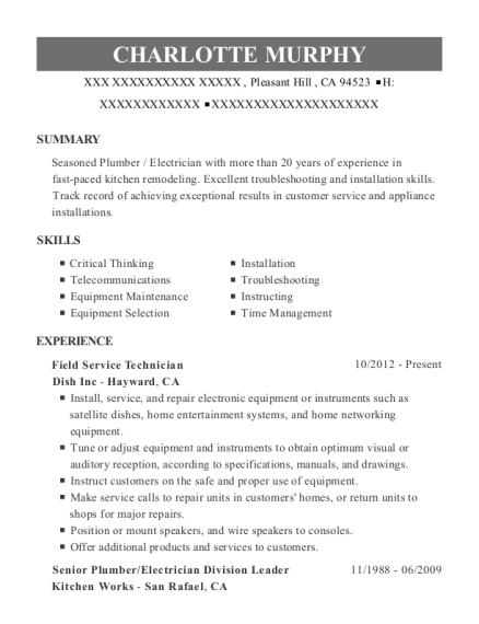 Field Service Technician resume format California