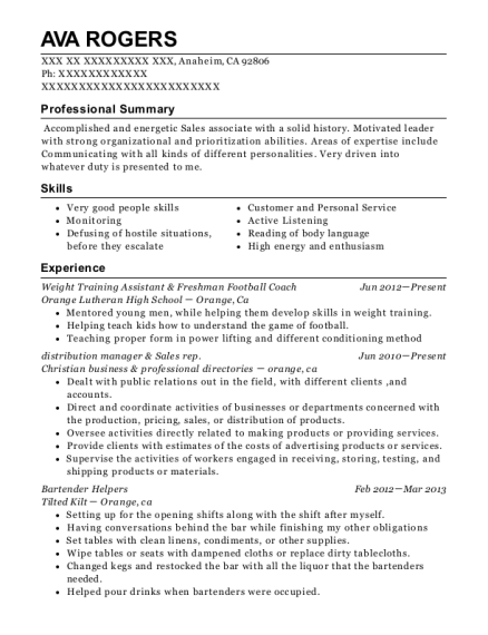 Weight Training Assistant & Freshman Football Coach resume example California