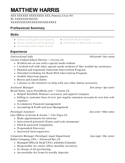 Instructional Aide resume template California