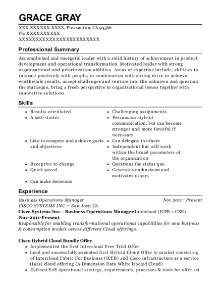 Business Operations Manager resume example California