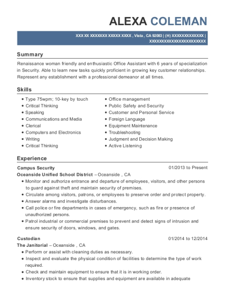 Campus Security resume template California