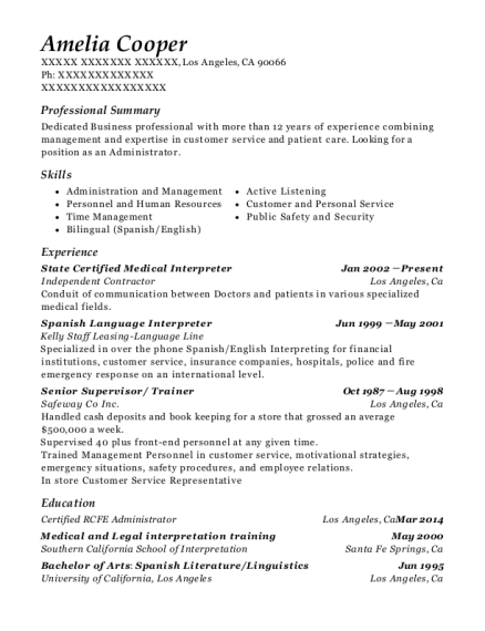 State Certified Medical Interpreter resume sample California