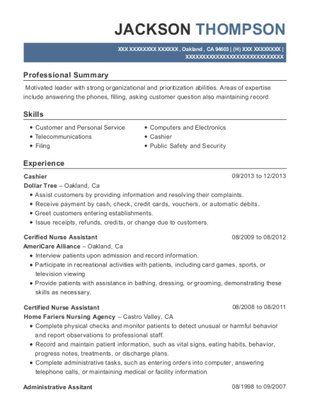 Cashier resume sample California