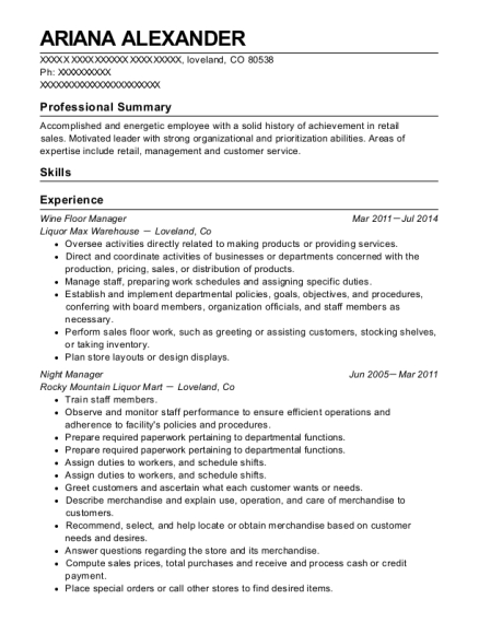 Wine Floor Manager resume example Colorado