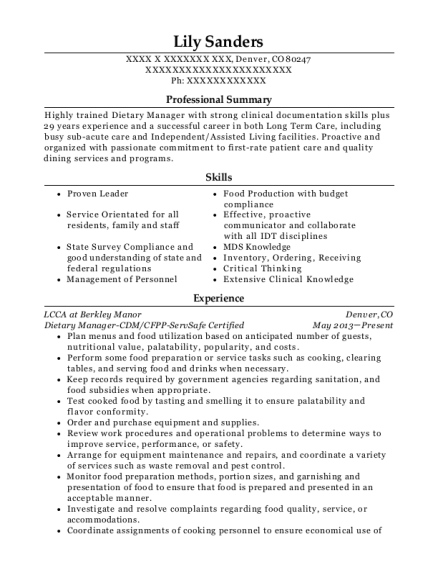 Dietary Manager CDM resume format Colorado