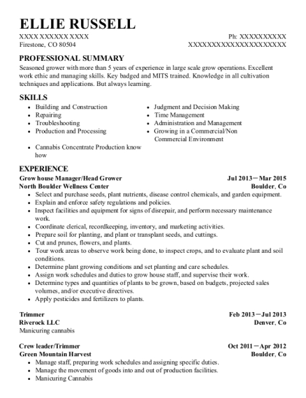 Grow house Manager resume sample Colorado