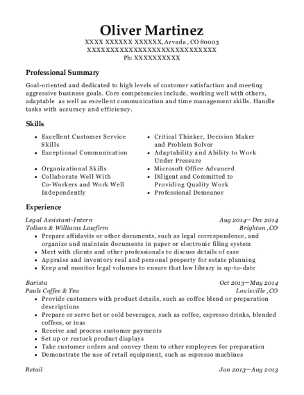 Legal Assistant Intern resume template Colorado