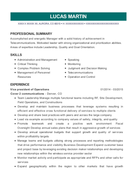 Vice president of Operations resume example Colorado