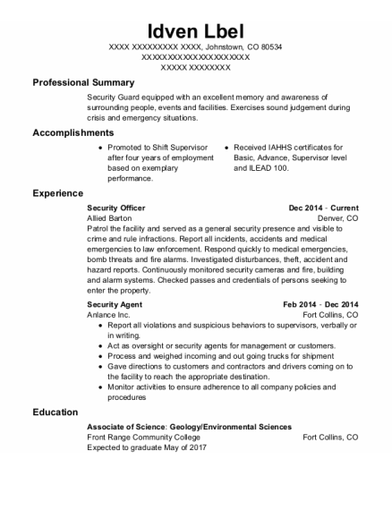Security Officer resume sample Colorado