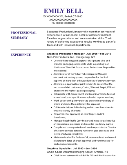 Graphics Production Manager resume format Connecticut