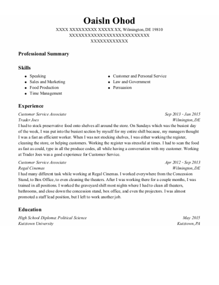 Customer Service Associate resume format Delaware