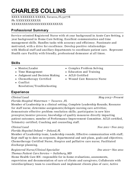 Clinical Lead resume sample Florida