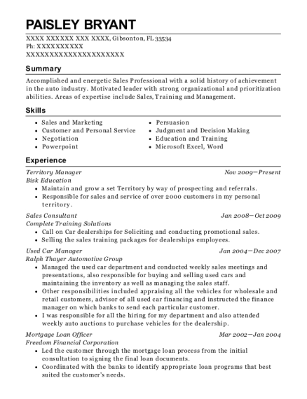 Territory Manager resume example Florida