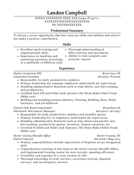 Carpentry Foreman resume template Florida