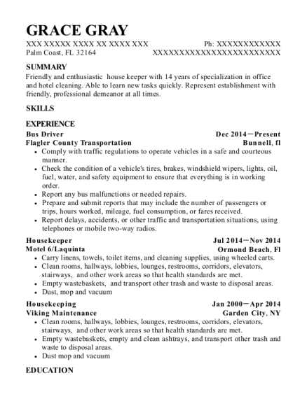 Bus Driver resume template Florida