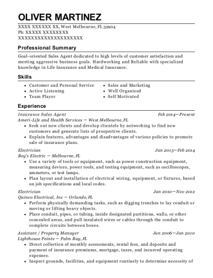 Insurance Sales Agent resume sample Florida