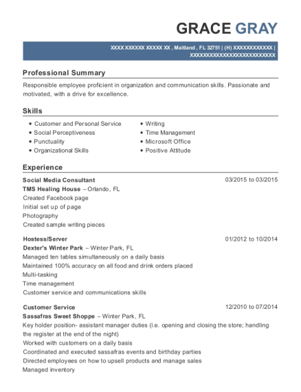 Social Media Consultant resume template Florida