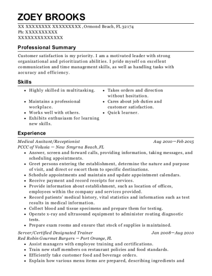 Medical Assitant resume example Florida