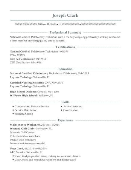 Maintenance Worker resume example Florida
