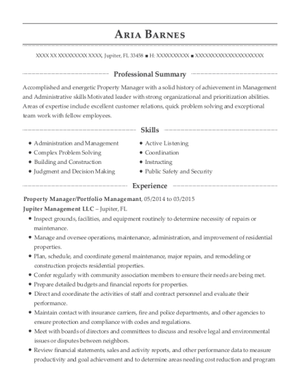 Property Manager resume sample Florida