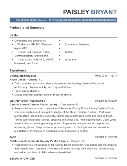 DANCE INSTRUCTOR resume example Florida