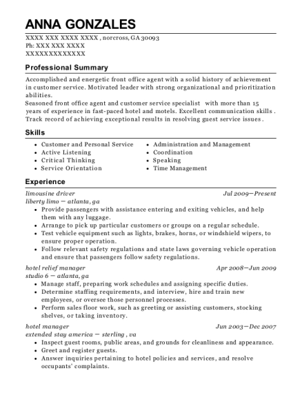 hotel niagara lodge and suites hotel manager resume sample