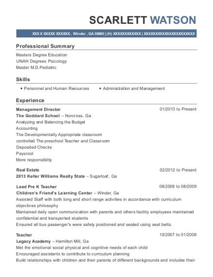 Management Director resume example Georgia