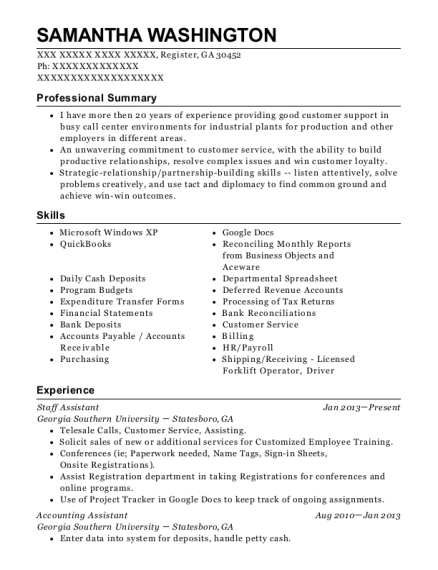 Staff Assistant resume template Georgia
