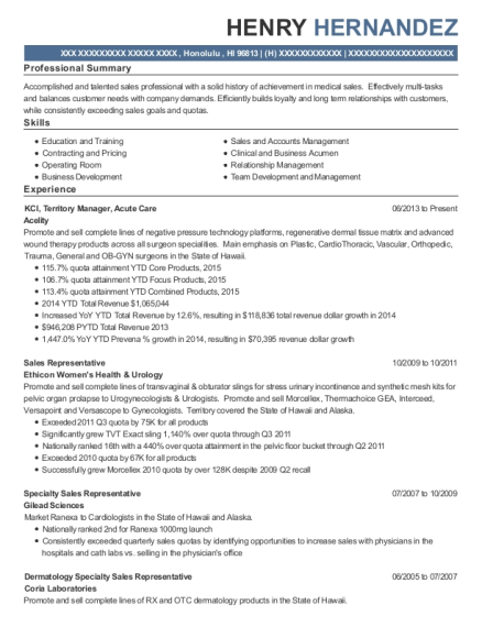 KCI resume example Hawaii