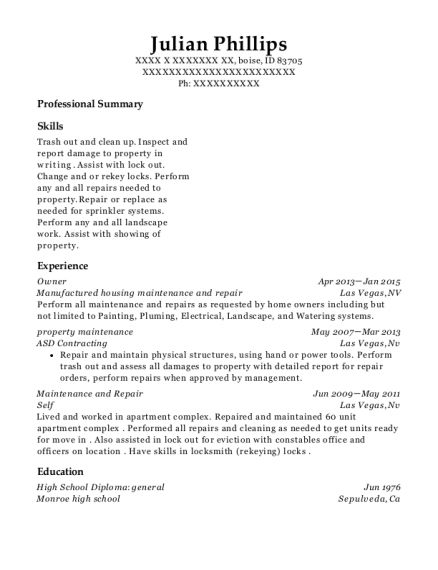 Owner resume template Idaho