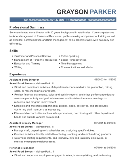Assistant Store Director resume example Illinois