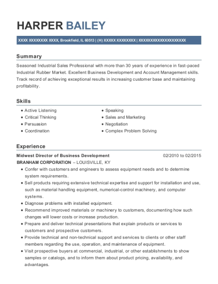 Midwest Director of Business Development resume sample Illinois