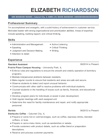 Resident Assistant resume format Illinois