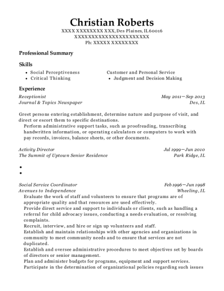Receptionist resume sample Illinois