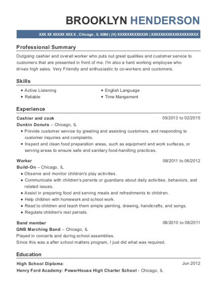 Cashier and cook resume template Illinois
