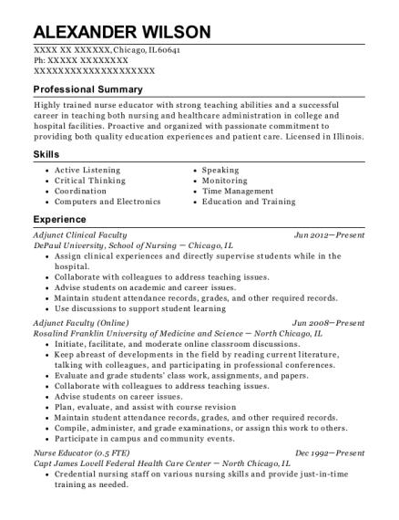 Adjunct Clinical Faculty resume example Illinois
