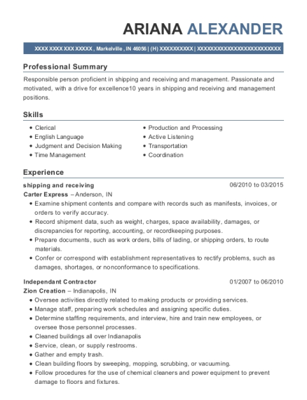 shipping and receiving resume template Indiana