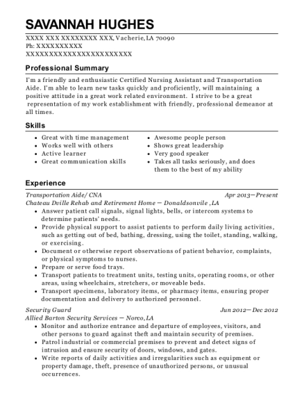 Transportation Aide resume format Louisiana